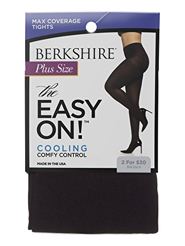 Berkshire Women's Easy On Max Coverage Plus Size Tights, Black, 5X-6X