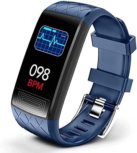 YLB Smart Watch Health & Fitness Tracker IP67 impermeable reloj inteligente con monitor de ritmo cardíaco, presión arterial Spo2, podómetro, monitor de sueño (color azul)