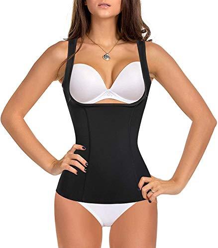 Gotoly Corsé de cintura adelgazante y contenitivo para mujer, moldeador del cuerpo, adelgazante, adelgazante, camiseta de tirantes Negro XL