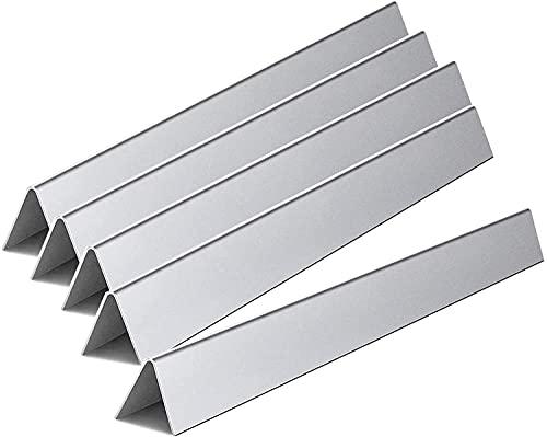 WELL GRILL 5 Stück Edelstahl 57,2 cm Grill Heizplatte Flavorizer Bars für Weber Spirit 300 E310 E320 S310 S320, Spirit 700, Weber 900, Genesis Silber/Gold B C (mit seitlichen Reglern)