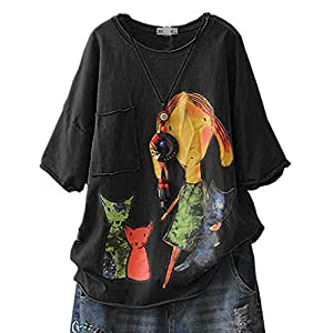 Women's Casual T-Shirt Loose Printed Cotton Short Sleeve Graphic Ripped Tops Blouse
