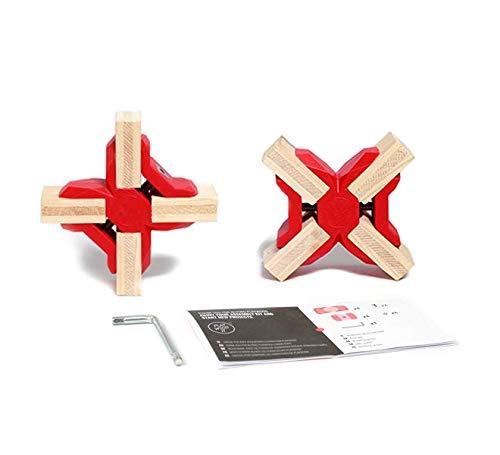 PlayWood, Kit Connettori a Croce, Morsetti a Croce in Plastica con Vite in Acciaio Inox, Ideale per Scaffalature Modulari in Legno per Bricolage e Fai da Te, Colori Assortiti (Rosso)