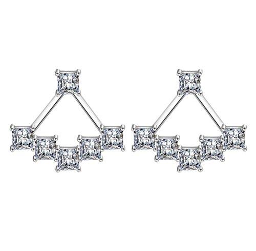 WeiMay Pendientes de plata con circonita para mujer, pendientes de plata