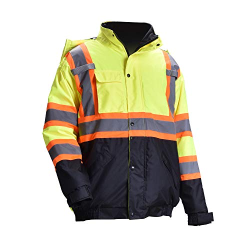 Men's ANSI Class 3 High Visibility Bomber Safety Jacket Detachable Hood Workwear Fleece Quilted Black Bottom Waterproof Thermal(L,Yellow)