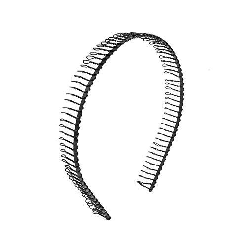 Beito Unisexe Printemps Noir Wavy Hair Metal Hoop Bande...