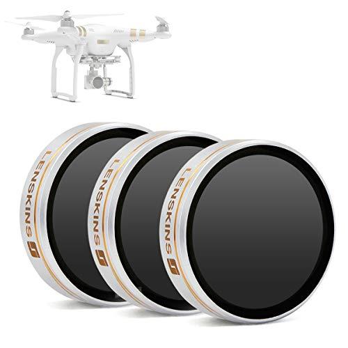 LENSKINS 3-Pack Drone MRC ND4/ ND8/ ND16 Filter for DJI Phantom 4/3 Professional/ 3 Advanced, AGC Optics, Aluminum Frame, Ultra Slim Neutral Density Filter Set with Storage Case & Lens Cloth