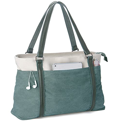 Scioltoo Tote Purses for Women 15.6 In Canvas Teacher Shoulder Bag With Zipper Women's Large Handbags Purse Bag for Work and Travel with Pockets Green