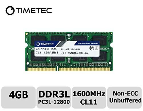Timetec Hynix IC 4GB DDR3L 1600MHz PC3-12800 Unbuffered Non-ECC 1.35V CL11 2Rx8 Dual Rank 204 Pin SODIMM Laptop/Notizbuch Arbeitsspeicher Module Upgrade (4GB)