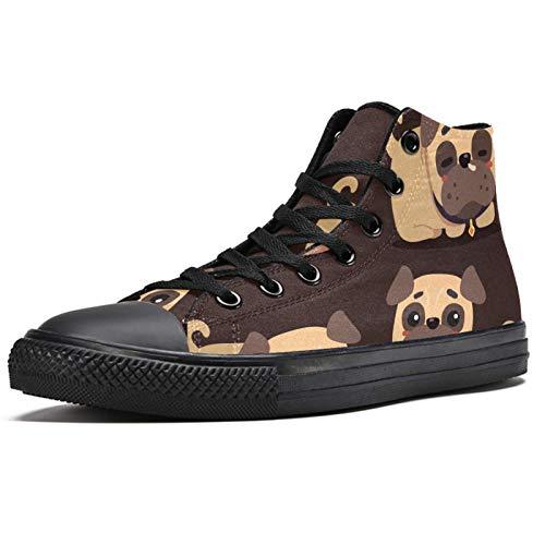 LORVIES Happy Lovely Brown Pugs - Zapatillas deportivas para hombre, (multicolor), 40.5 EU
