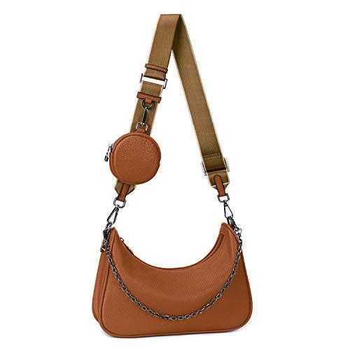 YALUXE Umhängetasche Damen Echtleder Mode Multi 2 in 1 Reißverschluss Handtaschen mit Münzetasche Braun