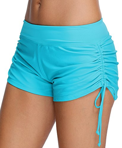 OLIPHEE Damen Badeshorts Bikinihose Wassersport Hotpants Verstellbare Kordel Bände Schwimmshorts Bunte Farben Blau XL