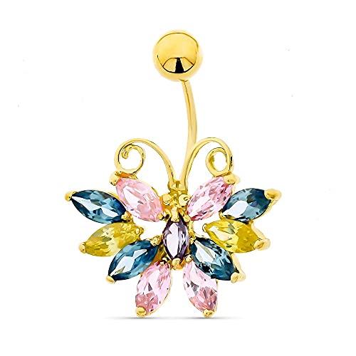 Inmaculada Romero IR Piercing Oro 18k Mujer Ombligo Mariposa Piedras Colores