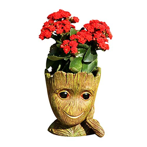 Resina Lion Heads Figurines Flower Pot Statue Adornos al Aire Libre Adornos Home Crafts Style1-Just Vase