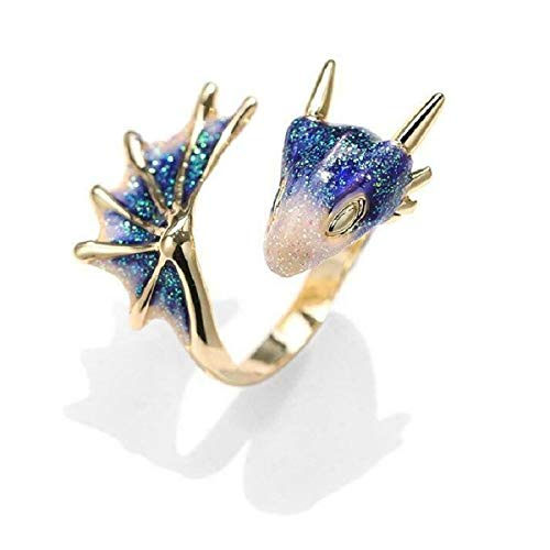 Gold Topaz Dragon Ring Lucky Fingere Pet, Adjustable Gothic Dragon Open Ring, Brass Gold Plated Girl Jewelry Ring, Women Vintage Cute Animal Finger Ring (Blue)