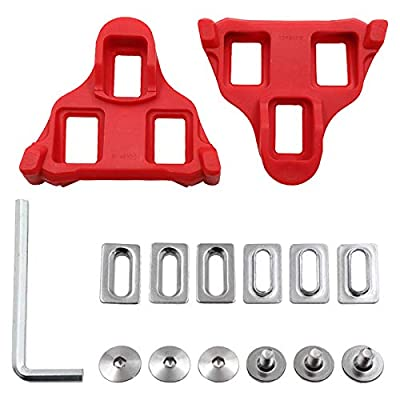 MIZOMOR Bike Cleats Compatible with Look Delta 9 Degree Float Cycling Cleats Delta Peloton Pedals & Spining Class Cycle Cleat for Indoor Outdoor Cycling Road Bike and Shoes (Red Two)