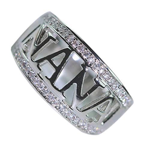 Qimao Regalos de la joyería de Oro Rosa de Plata Nana Letras Ahueca hacia Fuera los Anillos de Diamantes de imitación Plateado Tachonado aleación