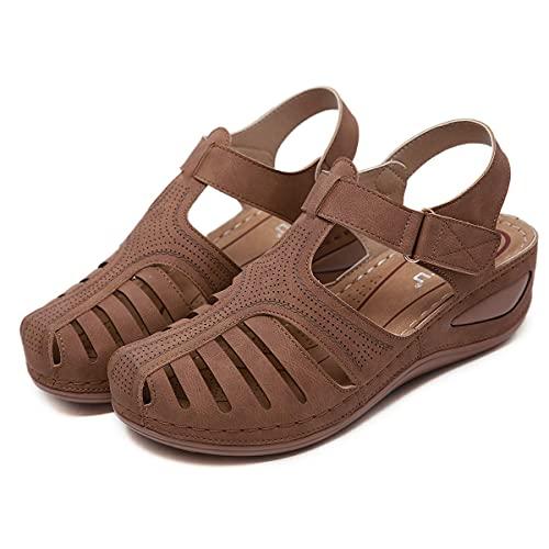 KLGH 2021 Nuevo Sandalias para Mujer Cuña de Verano, Antideslizante y Resistente al Desgaste, Sandalias de Cuero Punta Cerrada, Suave PU Artificial Sandalias Ahuecadas con Velcrobrown-44