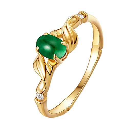Increíble banda elegante anillo de compromiso de boda de compromiso de oro amarillo de 14 quilates con piedras preciosas de esmeralda natural para mujer