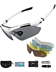 Polariserade Sports Solglasögon UV-skydd Cyklingglasögon med 5 Utbytbara linser Cykelglasögon TR90 Robust ram