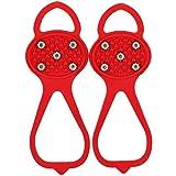 YTATY Ice Gripper Spike Antideslizante, Espigas de agarre antideslizantes universales, Calzado de silicona antideslizante para escalar hielo, Crampones para nieve sobre zapatos, Tacos duraderos (rojo)
