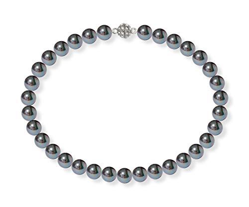 Schmuckwilli Damen Muschelkernperlen Perlenkette Schwarz mit Violett Glanz Magnetverschluß echte Muschel 42cm dmk2014-42 (12mm)