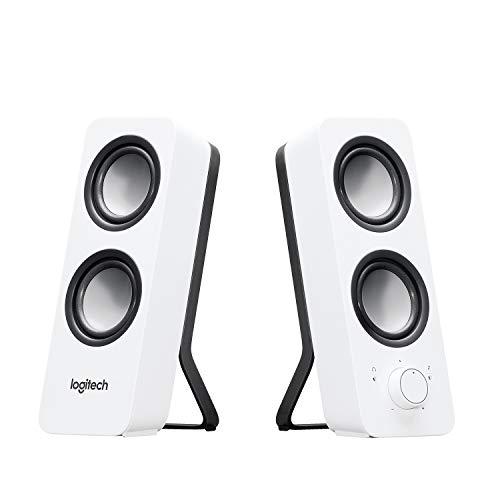 Logitech Z200 2.1 Lautsprecher mit Subwoofer, Surround Sound, 10 Watt Spitzenleistung, 2x 3,5 mm Eingänge, Lautstärken-Regler, EU Stecker, PC/TV/Smartphone/Tablet - Snow White/weiß