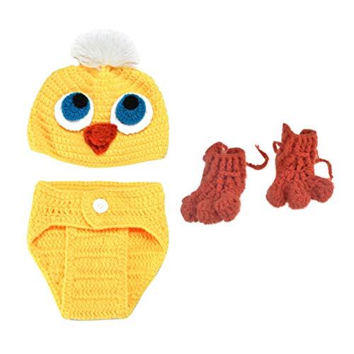 NUOBESTY Conjunto de Traje de Punto Recién Nacido Crochet Hecho a Mano Gorro de Pato Amarillo Zapatos Ropa Accesorios de Fotografía Decorativos para Bebé Infantil