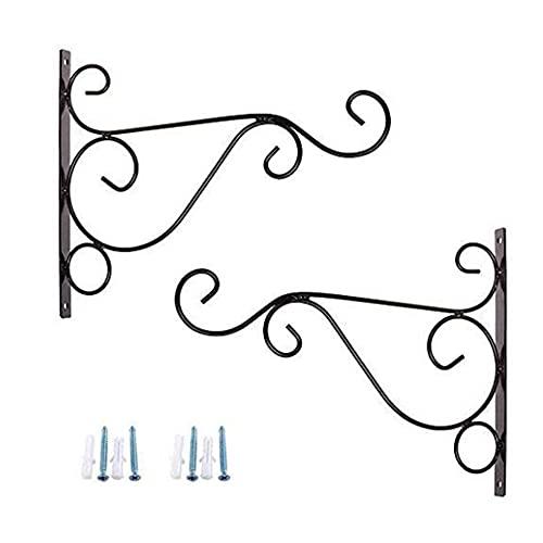 2 uds gancho montado en la pared soporte para cesta colgante soporte de flores decoración ganchos para colgar macetas con tornillos soporte para macetas