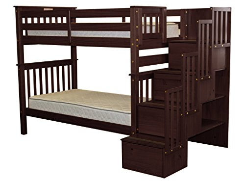 Bedz King Tall Stairway Bunk Beds Twin over Twin with 4 Drawers in the Steps, Cappuccino