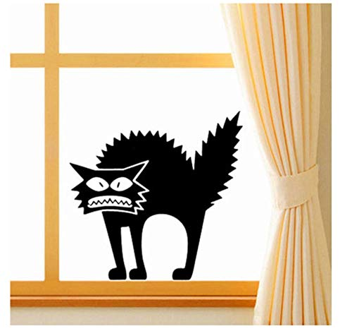 Angry Black Cat Window Sticker Removable Shop Showcase Window Wall Laptop Halloween Vinyl Decal Sticker Home Party Decor 1PC