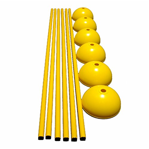Workoutz 60-Inch Solid Slalom Agility Pole Set with 6 Dome Bases (Includes 6 Poles and 6 Bases) for Soccer, Lacrosse, Football, Dog Training
