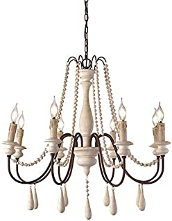 JinYuZe Ceiling Light Fixture,French Country Candle-Style Wood Bead Swag 1-Tier/2-Tier Wooden Chandelier,8 Lights,White