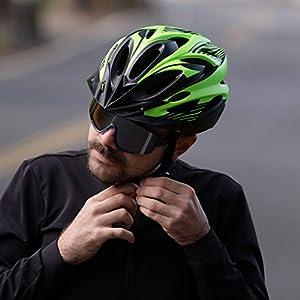 RNOX Adult Bike Helmet, Bicycle Cycle Helmet for Adults Men/Women, Adjustable Size Road Cycling Bicycle Helmet with Detachable Visor/Led Rear Light - Black Green