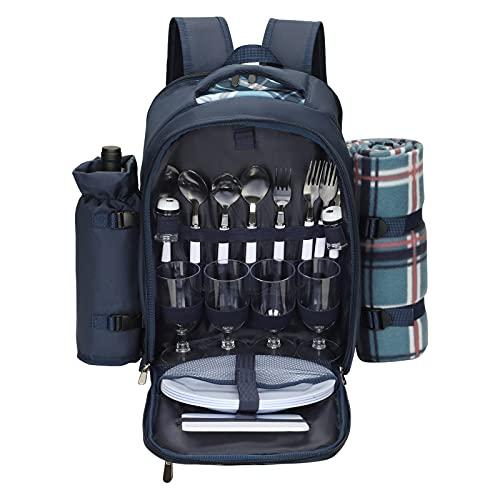 Vogvigo Picknick-Rucksack, multifunktional, Picknicktasche, für 4 Personen, mit Geschirr und Decke (blau)