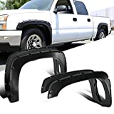 Pocket Style Bolt On Rivet Fender Flares Compatible with Chevy Silverado Sierra 1500/2500/3500HD 1999-2006 (Incl. 2007 Classic Models) Textured Black