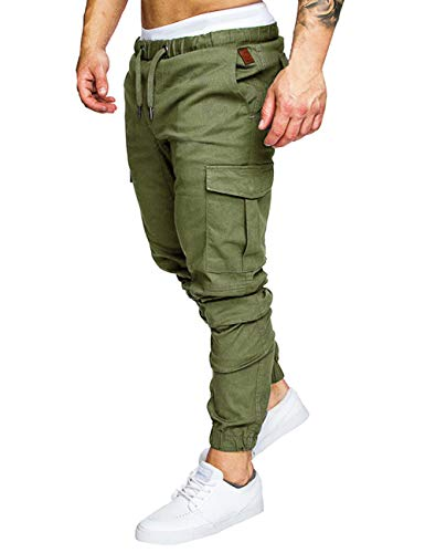 ZNU Mens Slim Fit Jogger Cargo Pants Casual Outdoor Sweatpants with Pockets Green