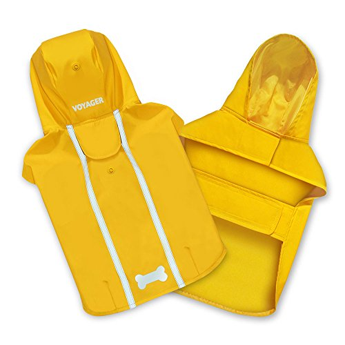 "Best Pet Supplies - Voyager Waterproof Dogs Rain Poncho, Yellow, Medium, ""chest: 19"""" ~ 25"""""" (253-YW-M)"