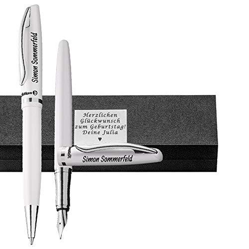 Pelikan - Kugelschreiber und Füller im Set Farbe Perlweiß mit Gravur als Geschenk & Wunschsymbol Geschenkverpackung Jazz Elegance im Set PS27