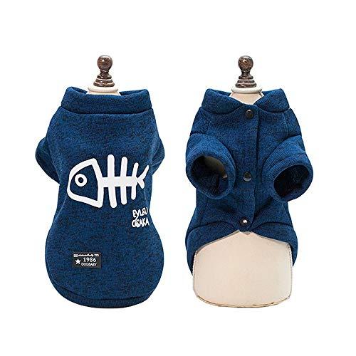 JANGNUO Katzenkleidung Herbst Winter Warme Kleidung Für Katzen Hunde Sphynx Kitty Kätzchen Mantel Jacken Gedruckte Katzenkostüme Haustierkleidung Outfits (M,Blue)