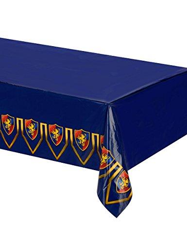 KULTFAKTOR GmbH middeleeuwse tafelkleed kinderverjaardag tafeldecoratie blauw bont 1,37x2,74m eenheidsmaat