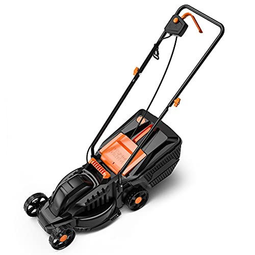 1200W Electric Lawn Mower - 14-Inch Lawn Mower, 32 cm Cutting Width with 3 Mowing Heights, 30 Litre Grass Box, Easy Folding for Space Saving Manual Height Adjust, Lightweight