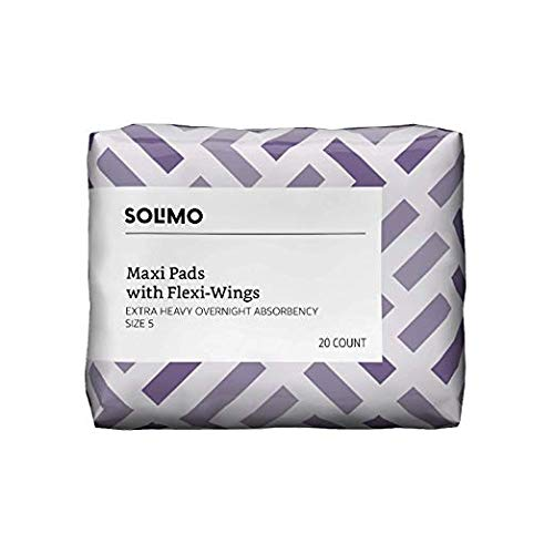 Amazon Brand - Solimo Thick Maxi Pads with Flexi-Wings for Periods, Extra Heavy Overnight Absorbency, Unscented, Size 5, 20 Count