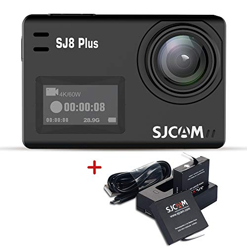 SJCAM SJ8 Plus 4K WiFi Action Camera Touch Screen Sport Cam with Sony Sensor EIS 170°Wide,2.3' Touch Screen Action Camera,Wireless Remote Control Supported (Include Dual Charger+2 Extra Batteries)