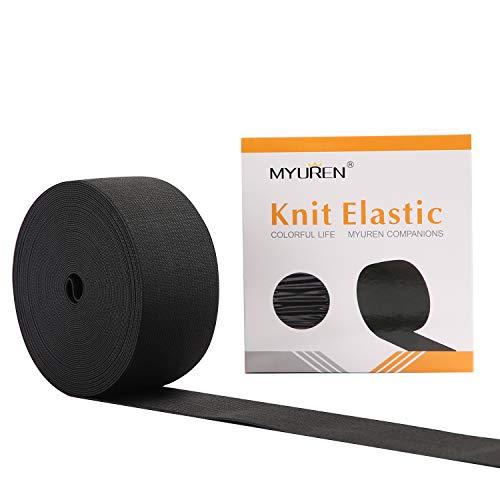 MYUREN 2 Inch by 10 Yard Black Heavy Stretch High Elasticity Elastic Spool Knit Elastic Bands for Sewing