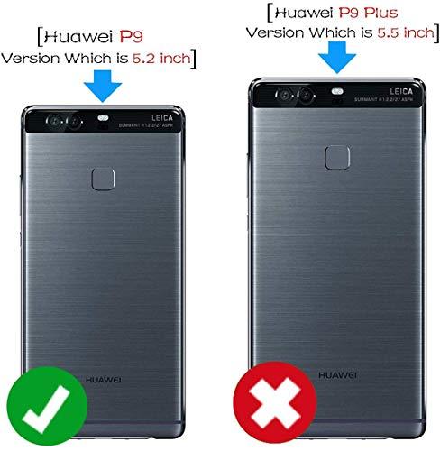 Leder Tasche Schutzhülle Case Flip View Cover für Huawei P9 Schwarz - 4