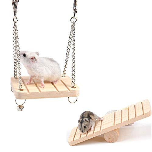 WYMAODAN Hamster Seesaw Juego de Columpio de Madera para Colgar, Escalera, Escalera, Juguetes, suspensión, para hámsters, Ardillas, gérbiles, Ratones, Enanos y Ratas