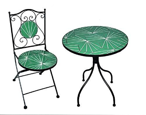 Set New Age Tavolo 80XH75 cm Piano in Ceramica con 2 sedie richiudibili, arredo Giardino