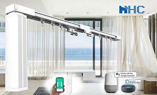 """DIY Smart Electric Curtain Tracks 84"""" - Remote Control Motorized Curtain Rails, Smart Home Automation System Easy to Control by Mobile apps/Remote/Timer, Alexa Smart Curtain Track (36"""" to 84"""")"""