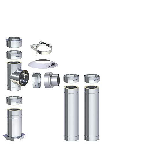 H&M DW New-Line Schornstein-Paket 3,2m Ø 150mm Edelstahl Bausatz doppelwandig 25mm Isolierung 0,5mm Wandstärke Design Aussen-Kamin Set Holz-Ofen Kamin-Einsatz