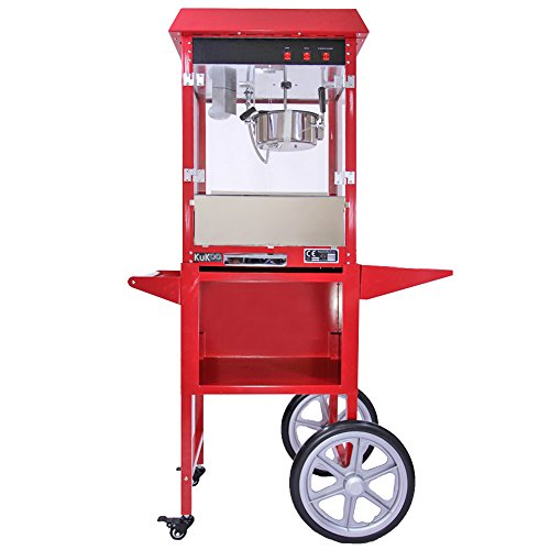 Kukoo Popcorn Maker 8 Ounce Large Commercial Pop Corn Machine with Matching Cart